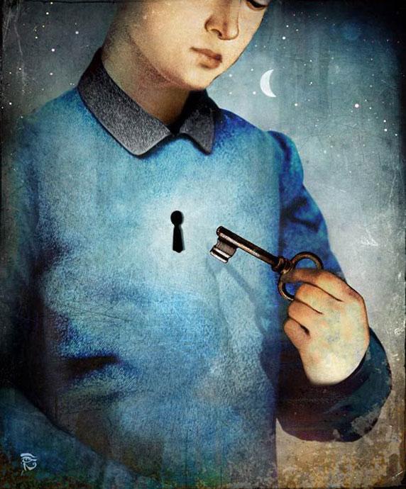 Un niño con una llave, a punto de abrir su corazón (Unlock, by Christian Schloe)