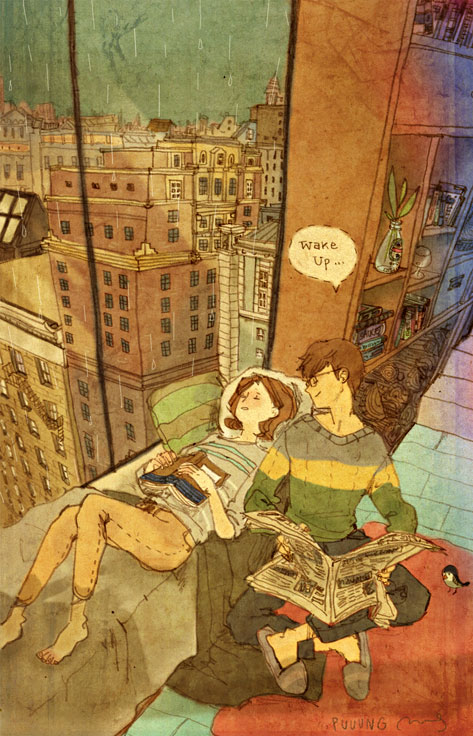 Wake up (Despierta), ilustración de la artista coreana Puuung