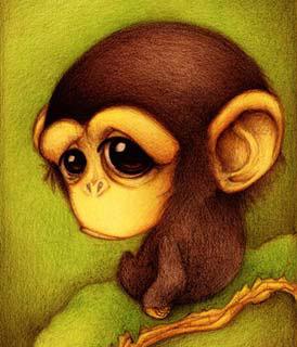 Dessin d'un petit singe triste (Titre: Chimpancé, Auteur: Fabo)
