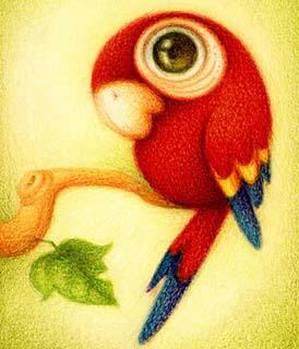 Disegno di un pappagallo (Titolo: Guara roja, Autore: Faboarts)