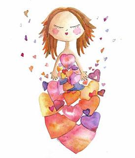 Illustration d'une jeune fille entourée de coeurs (Auteur: Analía Testone)