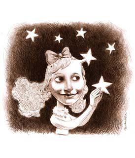 Dessin d'une jeune fille entourée d'étoiles (Titre: La vida es sueño, Auteur: Santiago Mansilla)