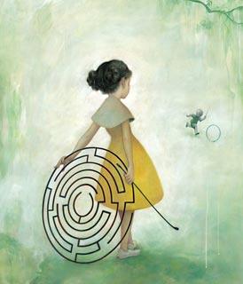 Disegno di una ragazza e di un labirinto (Titolo: Maze, Autore: James Jean)