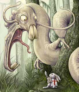 Desenho de um coelho enfrentando um monstro (Título: Sir Bunny Vs The Wockwurm, Autor: Ursula Vernon)