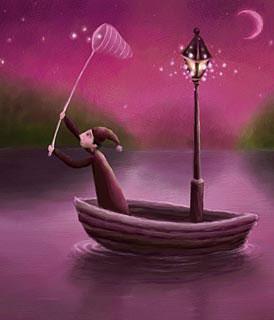 Dibujo de un hombre pescando estrellas (Título: Starfisher, Autor: Pete Revonkorpi)
