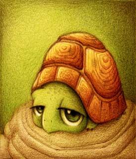 Dessin d'une tortue qui s'ennuie (Titre: Tortuga, Auteur: Fabo)