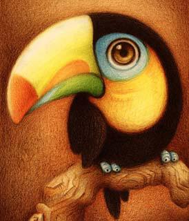 Desenho de um tucano (Título: Un tucán, Autor: Faboarts)
