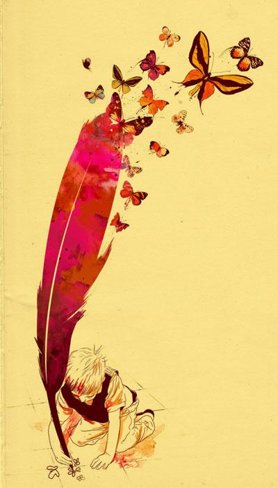 Un niño dibujando mariposas con una pluma (Título: Unlimited Thought; Autor: Mathiole)