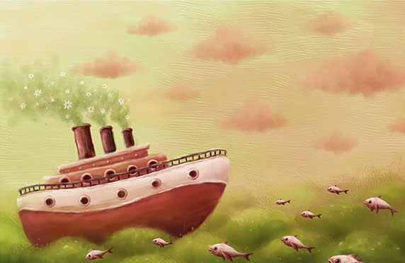 Dibujo naif de un barco cruzando el océano (Título: A sea..., Autor: Pete Revonkorpi)