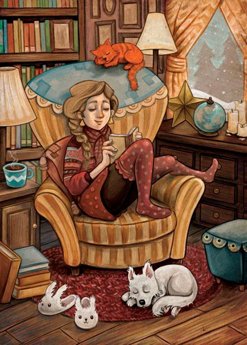 Cozy reading (Lectura acogedora), by Sandy Vazan