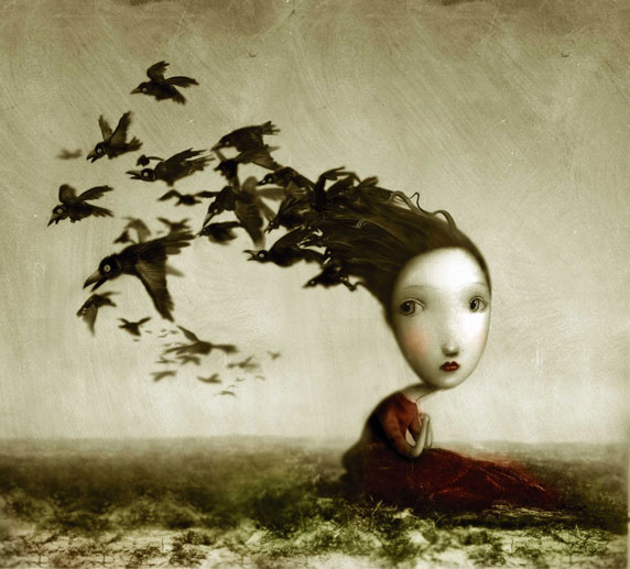 Dibujo de una niña melancólica, con pájaros (título: Crows, autor: Nicoletta Ceccoli)