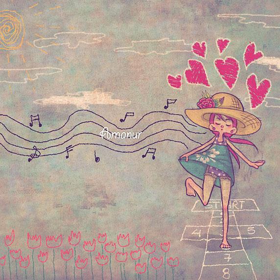 Dibujo de una niña jugando a la rayuela (Título: Distraction, Autora: Amanur)