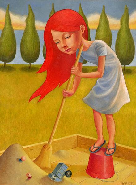 Ilustración de una chica barriendo la arena en un arenero (Título: Everything in its Right Place, Autor: Jim Harker)