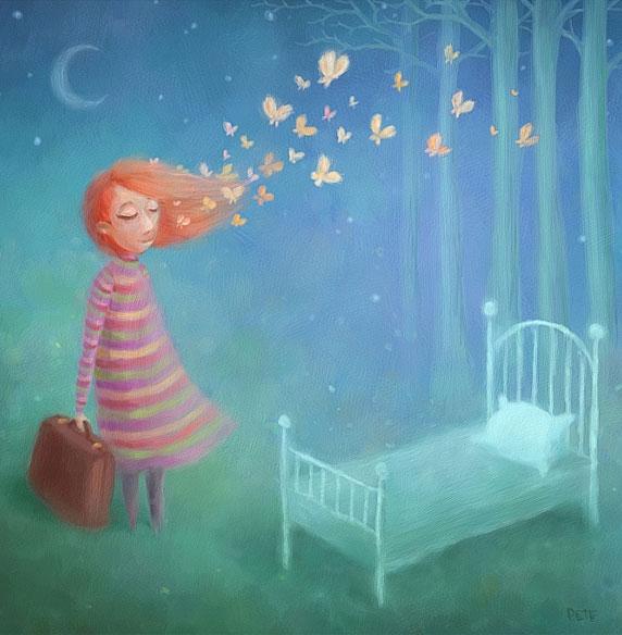 Ilustración de una mujer a punto de iniciar una nueva etapa (Título: Going to Sleep, Autor: Pete Revonkorpi)
