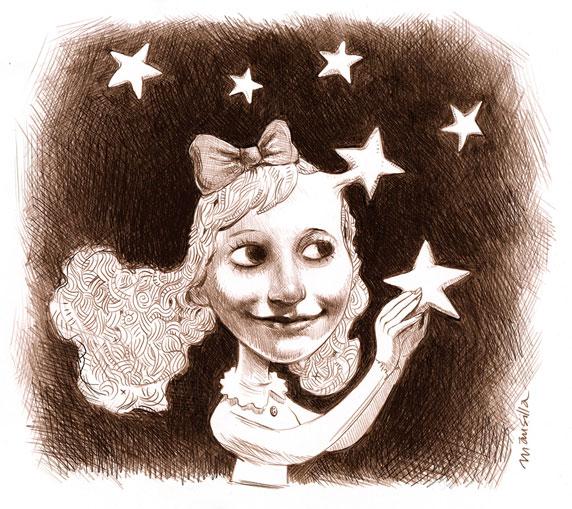 Dibujo de una chica rodeada de estrellas (Título: La vida es sueño, Autor: Santiago Mansilla)