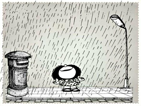 Mafalda disfrutando de la lluvia