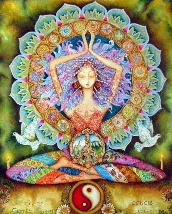 Ilustración de una mujer meditando
