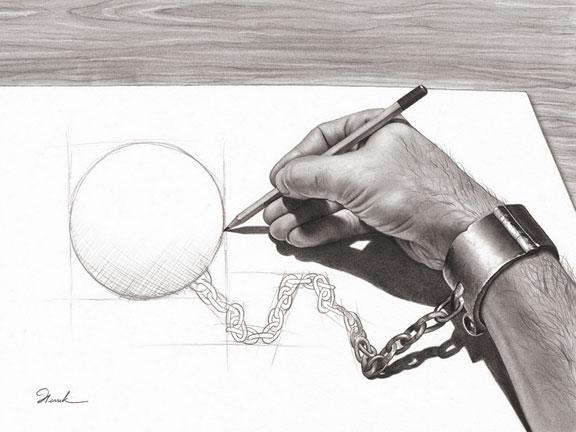 Dibujo de una mano que dibuja su propio grillete (Título: Prisoner of my own, Autor: Henrik Moses)
