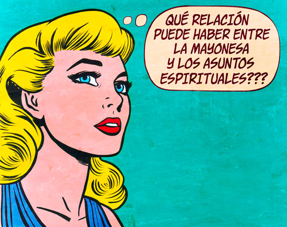 Caricatura vintage (¿Qué relación puede haber entre la mayonesa y los asuntos espirituales?)