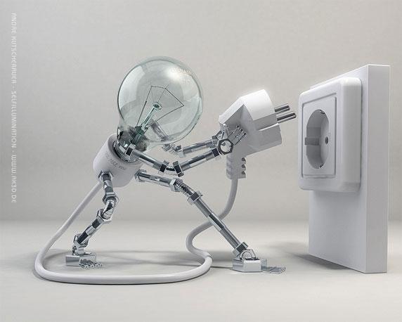 Ilustración en 3D de una lámpara eléctrica conectándose a sí misma (Título: Selfillumination; Autor: André Kutscherauer)
