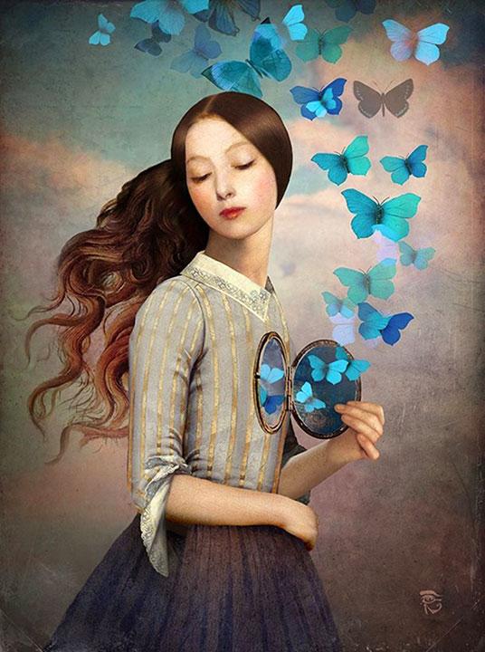 Una mujer libera mariposas encerradas en su corazón (Set Your Heart Free, by Christian Schloe)