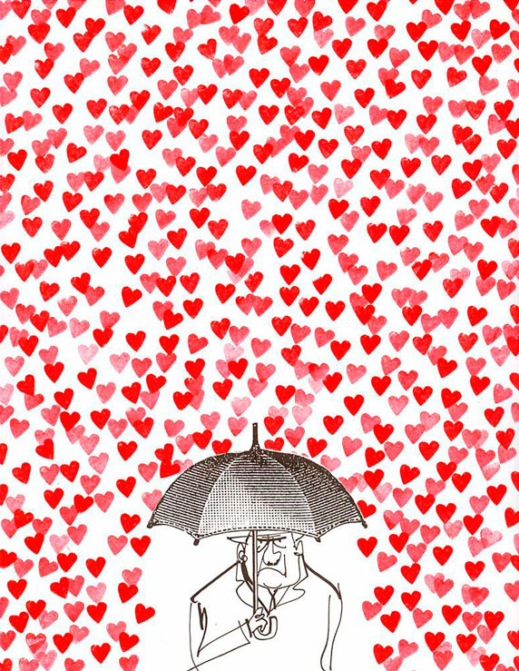 Una lluvia de corazones cae sobre un hombre con paraguas.